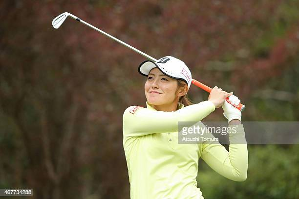Ayaka Watanabe of Japan hits her tee shot on the 16th hole during the first round of the AXA Ladies Golf Tournament at the UMK Country Club on March...