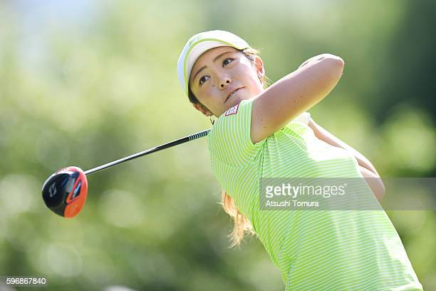Ayaka Watanabe of Japan hits her tee shot on the 18th hole during the final round of the Nitori Ladies 2016 at the Otaru Country Club on August 28...