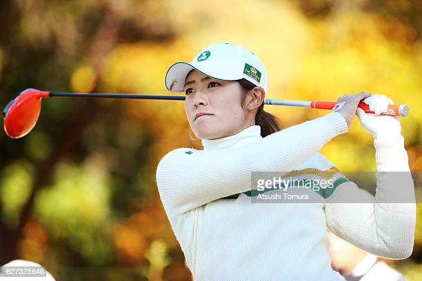 Ayaka Watanabe of Japan hits her tee shot on the 2nd hole during the second round of the THE QUEENS Presented By KOWA at the Miyoshi Country Club...