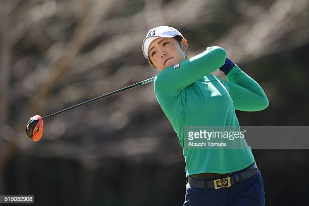 Ayaka Watanabe of Japan hits her tee shot on the 3rd hole during the second round of the Yokohama Tire PRGR Ladies Cup at the Tosa Country Club on...