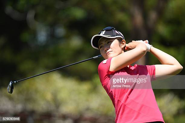 Ayaka Watanabe of Japan hits her tee shot on the 4th hole during the final round of the World Ladies Championship Salonpas Cup at the Ibaraki Golf...