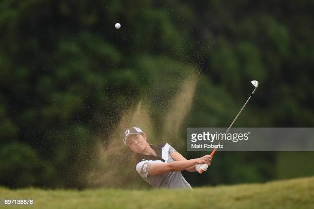 Ayaka Watanabe of Japan hits out of the first green bunker during the final round of the Nichirei Ladies at the on June 18 2017 in Chiba Japan