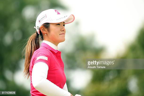 Ayaka Watanabe of Japan looks on during the first round of the AXA Ladies Golf Tournament at the UMK Country Club on March 25 2016 in Miyazaki Japan