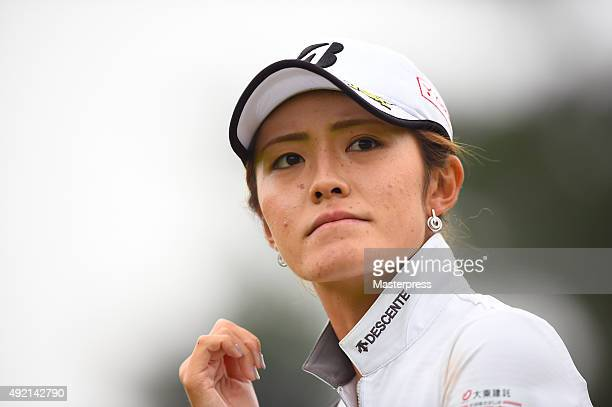 Ayaka Watanabe of Japan looks on during the second round of Stanley Ladies Golf Tournament at the Tomei Country Club on October 10 2015 in Susono...