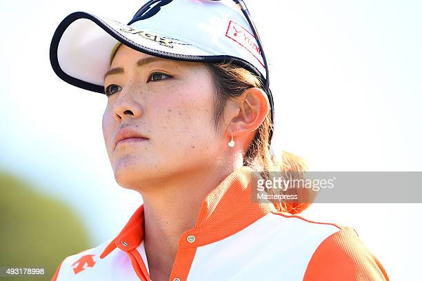 Ayaka Watanabe of Japan looks on during the third round of the Fujitsu Ladies 2015 at the Tokyu Seven Hundred Club on October 18 2015 in Chiba Japan