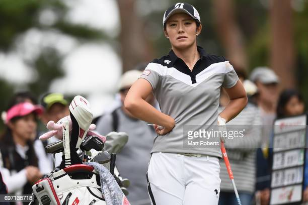 Ayaka Watanabe of Japan looks on prior to her tee shot on the 2nd hole during the final round of the Nichirei Ladies at the on June 18 2017 in Chiba...