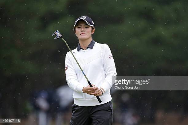 Ayaka Watanabe of Japan plays a putt on the 13th green during the final round of the LPGA Tour Championship Ricoh Cup 2015 at the Miyazaki Country...