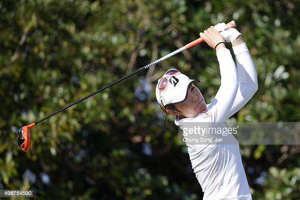 Ayaka Watanabe of Japan plays a tee shot on the 3rd hole during the first round of the LPGA Tour Championship Ricoh Cup 2015 at the Miyazaki Country...