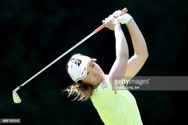 Ayaka Watanabe of Japan plays a tee shot on the 5th hole during the final round of the Chukyo Television Bridgestone Ladies Open at the Chukyo Golf...