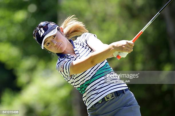 Ayaka Watanabe of Japan plays a tee shot on the third hole during the first/second/third round of the Nichirei Ladies at the Sodegaura Country Club...