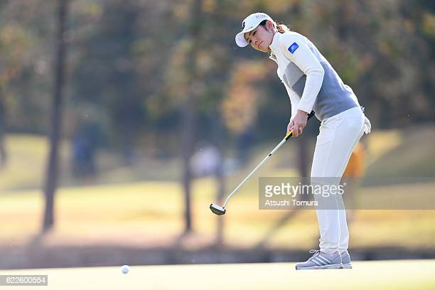 Ayaka Watanabe of Japan putts on the 18th green during the second round of the Itoen Ladies Golf Tournament 2016 at the Great Island Club on November...