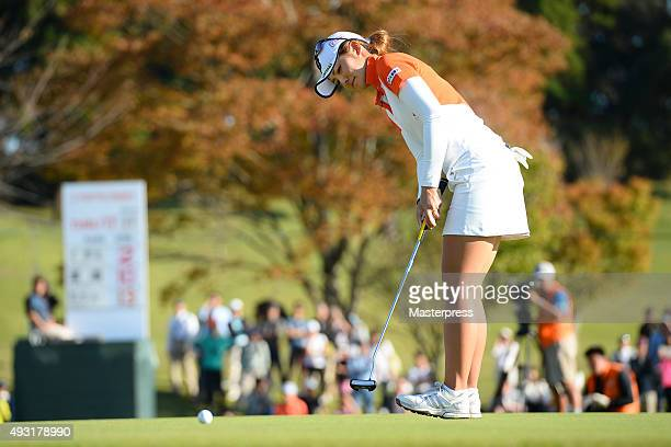 Ayaka Watanabe of Japan putts on the 18th green during the third round of the Fujitsu Ladies 2015 at the Tokyu Seven Hundred Club on October 18 2015...