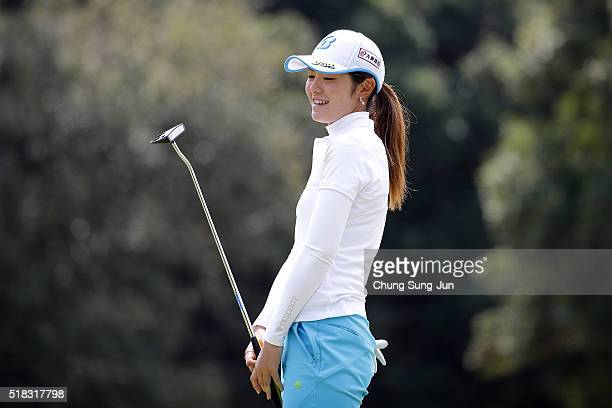Ayaka Watanabe of Japan reacts after a putt on the 9th green during the first round of the YAMAHA Ladies Open Katsuragi at the Katsuragi Golf Club...