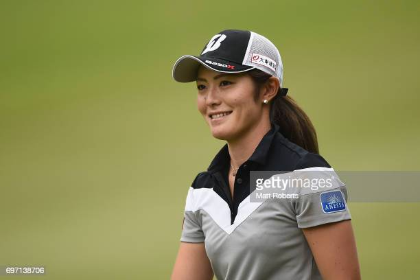 Ayaka Watanabe of Japan smiles are her second shot on the 1st hole during the final round of the Nichirei Ladies at the on June 18 2017 in Chiba Japan