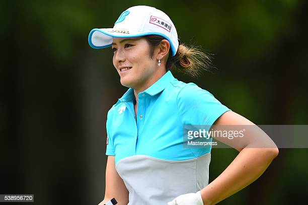 Ayaka Watanabe of Japan smiles during the first round of the Suntory Ladies Open at the Rokko Kokusai Golf Club on June 9 2016 in Kobe Japan