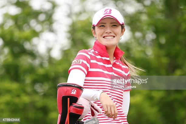Ayaka Watanabe of Japan smiles during the first round of the Yonex Ladies Golf Tournament 2015 at the Yonex Country Club on June 5 2015 in Nagaoka...