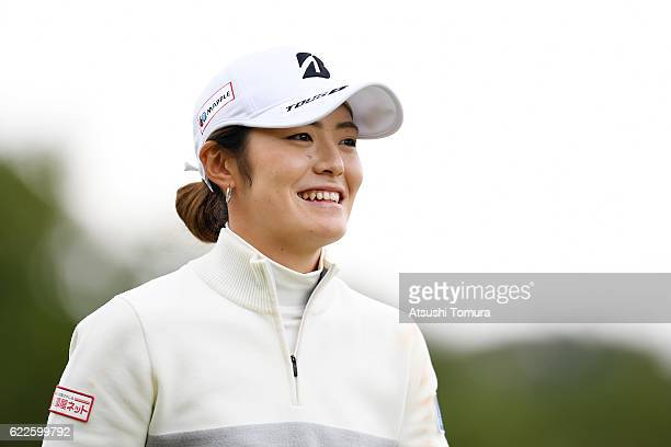 Ayaka Watanabe of Japan smiles during the second round of the Itoen Ladies Golf Tournament 2016 at the Great Island Club on November 12 2016 in...