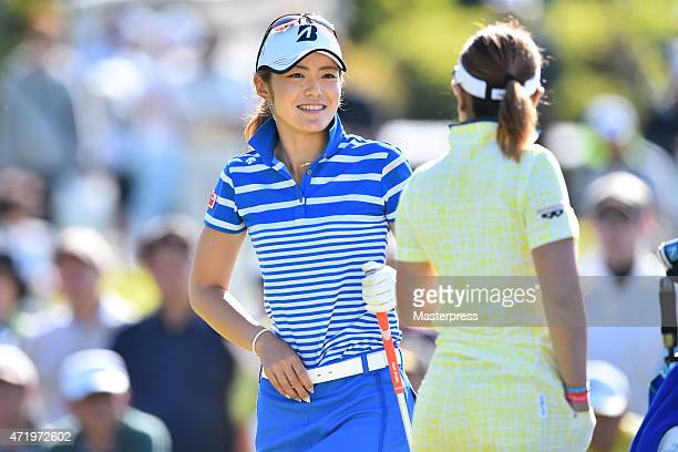 Ayaka Watanabe of Japan smiles during the second round of the CyberAgent Ladies Golf Tournament at the Tsurumai Country Club West Course on May 2...