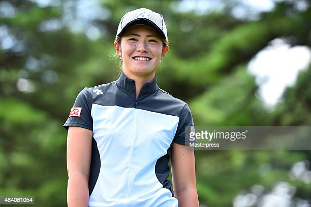 Ayaka Watanabe of Japan smiles during the second round of the NEC Karuizawa 72 Golf Tournament 2015 at the Karuizawa 72 Golf North Course on August...