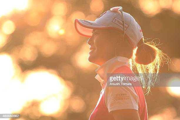 Ayaka Watanabe of Japan smiles during the second round of the Nitori Ladies 2015 at the Otaru Country Club on August 29 2015 in Otaru Japan