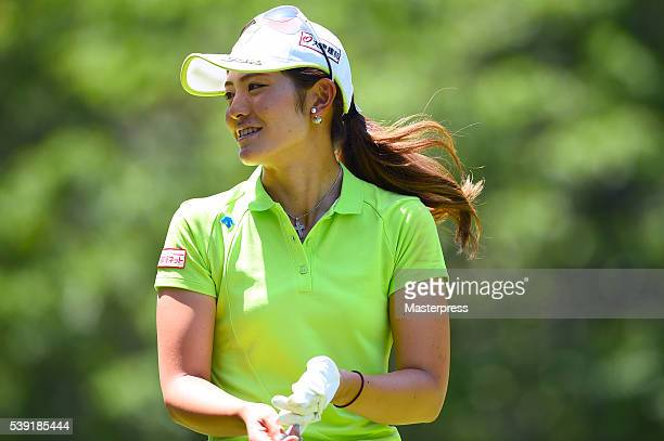 Ayaka Watanabe of Japan smiles during the second round of the Suntory Ladies Open at the Rokko Kokusai Golf Club on June 10 2016 in Kobe Japan