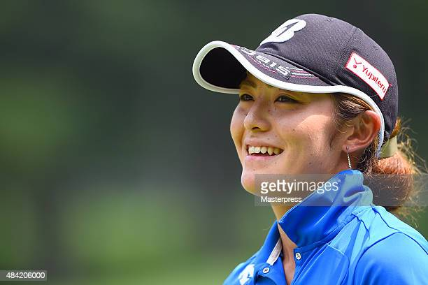 Ayaka Watanabe of Japan smiles during the third round of the NEC Karuizawa 72 Golf Tournament 2015 at the Karuizawa 72 Golf North Course on August 16...