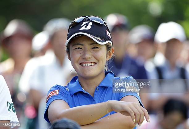 Ayaka Watanabe of Japan smiles on the third hole during the final round of the 48th LPGA Championship Konica Minolta Cup 2015 at the Passage Kinkai...