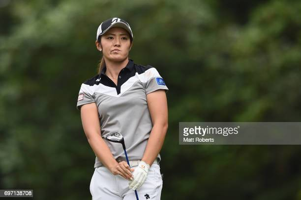 Ayaka Watanabe of Japan watches her tee shot on the 2nd hole during the final round of the Nichirei Ladies at the on June 18 2017 in Chiba Japan