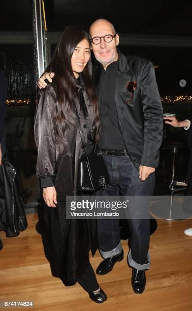 Ayako Comte and Michel Comte attend the exhibition 'La Terra Inquieta' at Triennale di Milano on April 27 2017 in Milan Italy