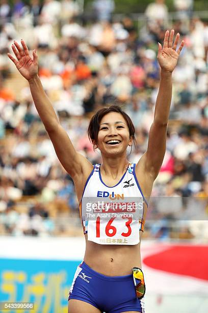 Ayako Kimura celebrates winning the Women's 100m Hurdles during day three of the 100th Japan National Athletic Championships at the Paroma Mizuho...