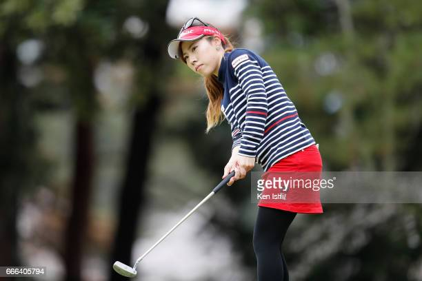 Ayako Kimura hits a approach shot on the 9th hole during the final round of the Hanasaka Ladies Yanmar Golf Tournament at the Biwako Country Club on...