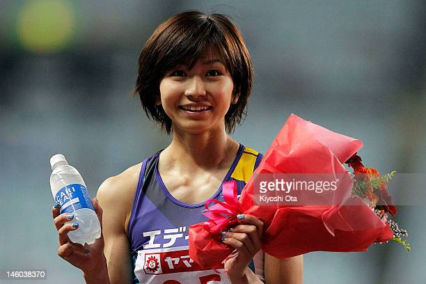 Ayako Kimura of Japan celebrates after winning the Women's 100m Hurdles final during day two of the 96th Japan National Championships at Nagai...