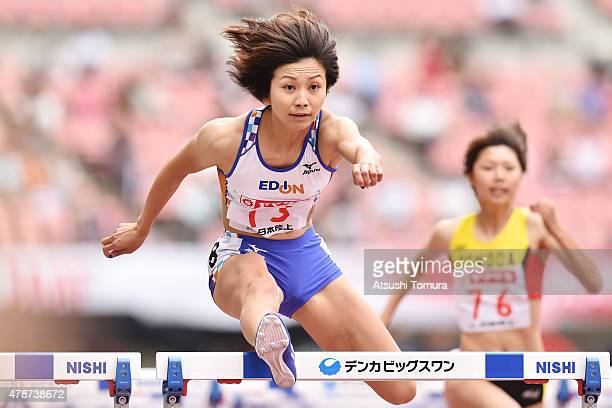 Ayako Kimura of Japan competes in the womens 100 meter Hurdles preliminary heat during the 99th Japan Athletics National Championships at Denka Big...
