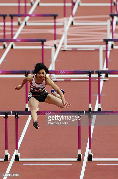 Ayako Kimura of Japan competes in the Women's 100m Hurdles heat on Day 10 of the London 2012 Olympic Games at the Olympic Stadium on August 6 2012 in...