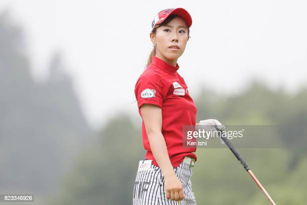 Ayako Kimura of Japan hits a tee shot on the second hole during the final round of the Castrol Ladies at the Fuji OGM Golf Club Ichihara Course on...