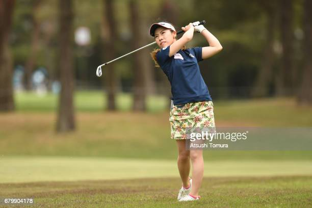 Ayako Kimura of Japan hits her second shot on the 18th hole during the final round of the World Ladies Championship Salonpas Cup at the Ibaraki Golf...