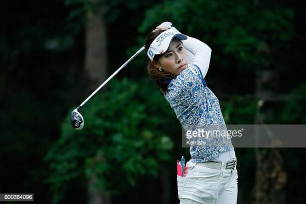 Ayako Kimura of Japan hits her tee shot on the 1st hole during the first round of the 49th LPGA Championship Konica Minolta Cup 2016 at the...