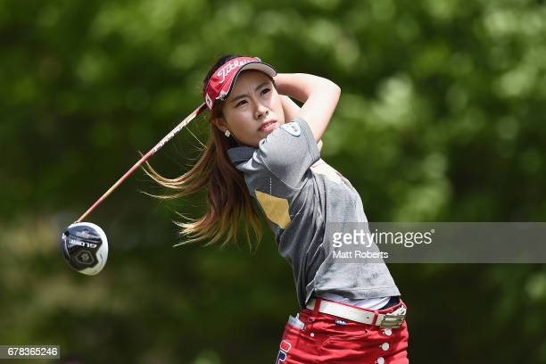 Ayako Kimura of Japan hits her tee shot on the 2nd hole during the first round of the World Ladies Championship Salonpas Cup at the Ibaraki Golf Club...