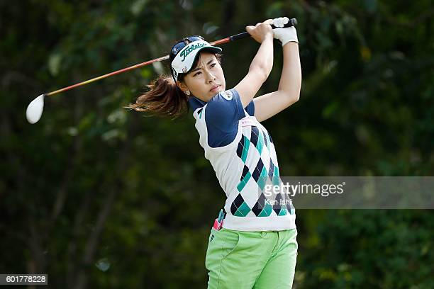 Ayako Kimura of Japan hits her tee shot on the 3rd hole during the third round of the 49th LPGA Championship Konica Minolta Cup 2016 at the...