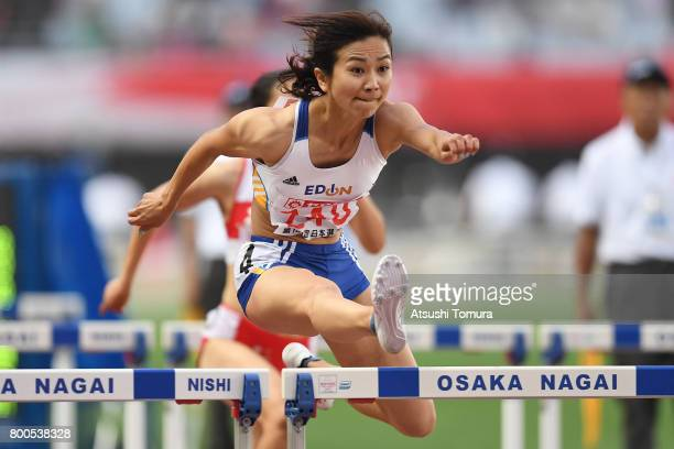Ayako Kimura of Japan in the Women's 100m hurdles semi finals during the 101st Japan National Championships at Yanmar Stadium Nagai on June 24 2017...