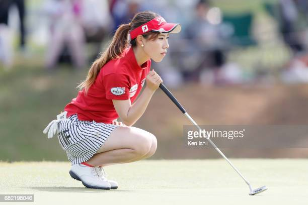 Ayako Kimura of Japan lines up a putt on the 18th green during the final round of the Shizu Hills Mori Building Cup at Shizu Hills Country Club on...