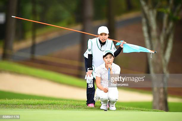 Ayako Kimura of Japan lines up during the first round of the Suntory Ladies Open at the Rokko Kokusai Golf Club on June 9 2016 in Kobe Japan