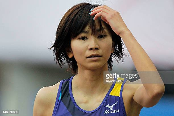 Ayako Kimura of Japan reacts after competing in the Women's 100m Hurdles semi final during day two of the 96th Japan National Championships at Nagai...