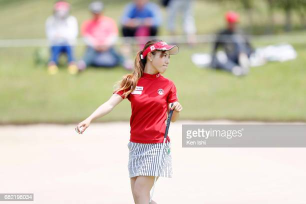 Ayako Kimura of Japan reacts after her putt shot on the 6th green during the final round of the Shizu Hills Mori Building Cup at Shizu Hills Country...