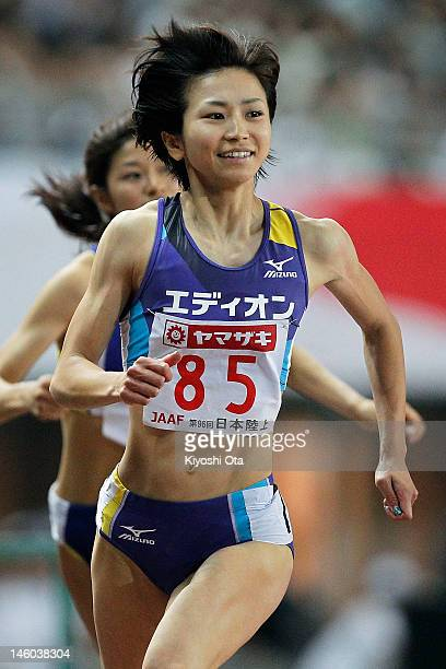 Ayako Kimura of Japan reacts as she wins the Women's 100m Hurdles final during day two of the 96th Japan National Championships at Nagai Stadium on...