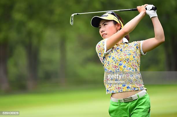 Ayako Kimura of Japan shots during the third round of the Suntory Ladies Open at the Rokko Kokusai Golf Club on June 11 2016 in Kobe Japan