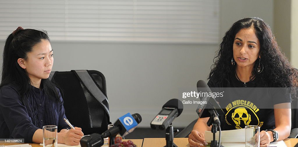 Ayako Oga (L), from the Japanese village of Okuma Machi, and Greenpeace's Ferrial Adams at a Greenpeace press conference on February 27, 2012 in Johannesburg, South Africa. Oga shared her experiences of the Fukushima nuclear disaster, which was caused by the tsunami that hit Japan in March 2011, to support the Greenpeace campaign to reduce the use of nuclear power.