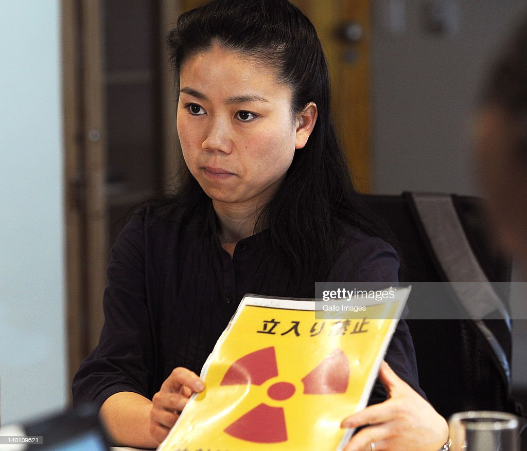 Ayako Oga, from the Japanese village of Okuma Machi during a Greenpeace press conference on February 27, 2012 in Johannesburg, South Africa. Oga shared her experiences of the Fukushima nuclear disaster, which was caused by the tsunami that hit Japan in March 2011, to support the Greenpeace campaign to reduce the use of nuclear power.