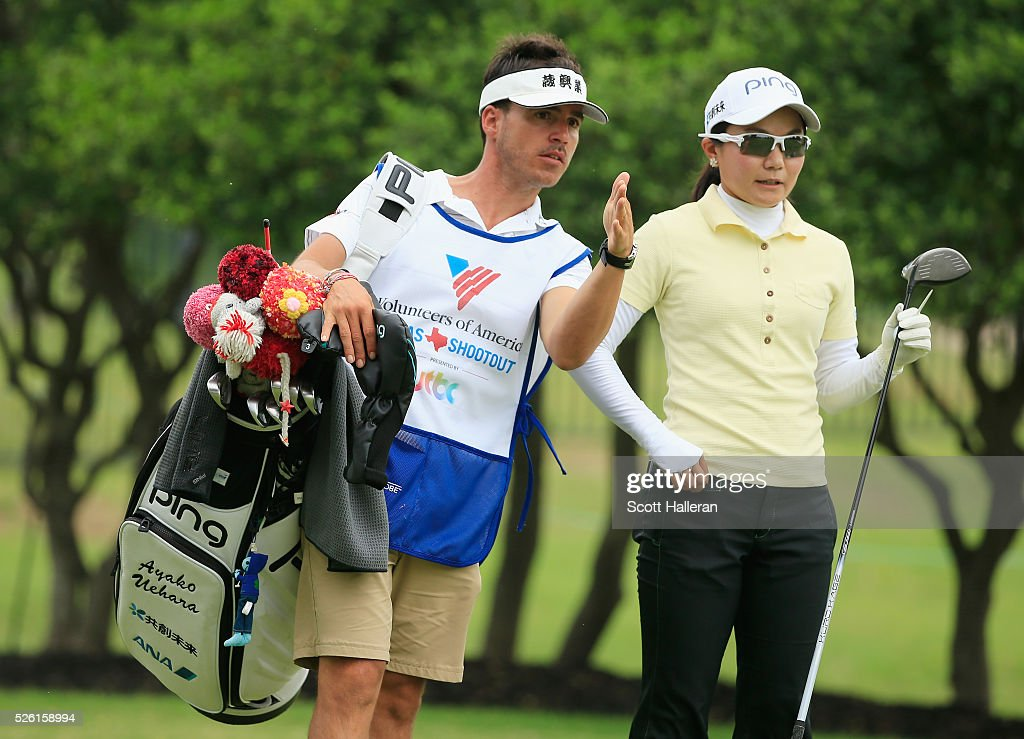 <a gi-track='captionPersonalityLinkClicked' href=/galleries/search?phrase=Ayako+Uehara+-+Golf&family=editorial&specificpeople=4690711 ng-click='$event.stopPropagation()'>Ayako Uehara</a> of Japan and her caddie line up her tee shot on the second hole during the second round of the Volunteers of America Texas Shootout at Las Colinas Country Club on April 29, 2016 in Irving, Texas.