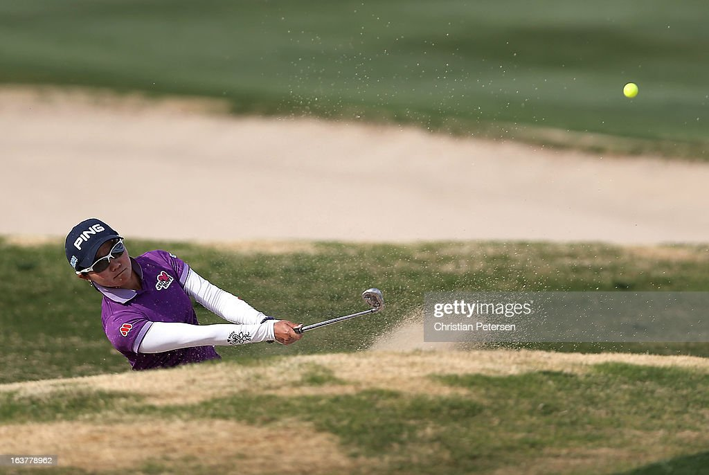 Ayako Uehara of Japan chips from the bunker onto the 15th hole green during the second round of the RR Donnelley LPGA Founders Cup at Wildfire Golf Club on March 15, 2013 in Phoenix, Arizona.